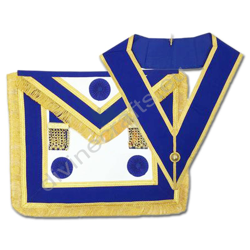 Craft Provincial Full Dress Apron with Blue Rosettes and Collar Set