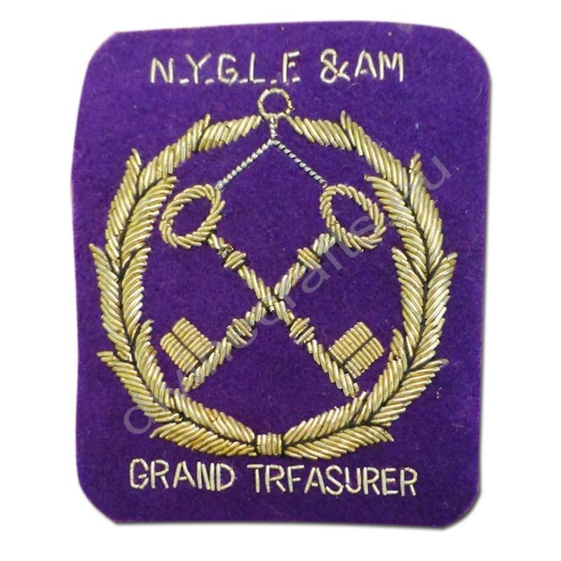 Vintage Grand Treasurer masonic Patch