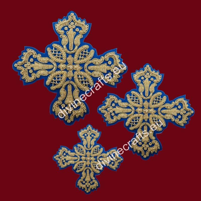 Gold Metallic With Blue Fabric Cross Set