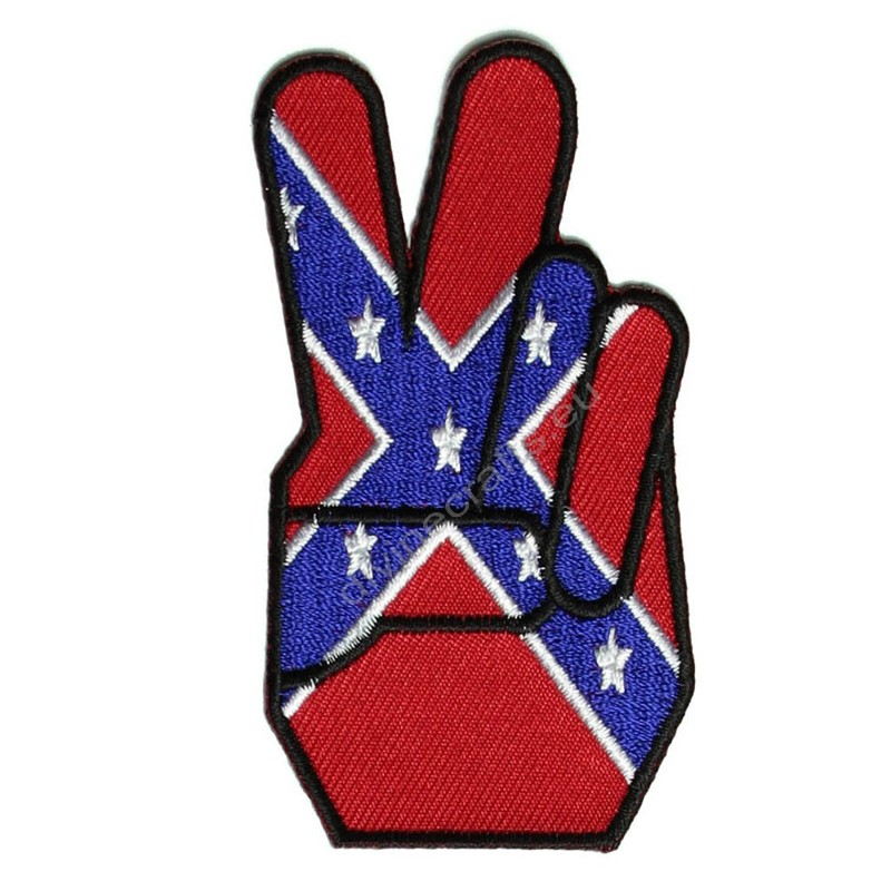 Rebel Flag Peace Fingers Patch