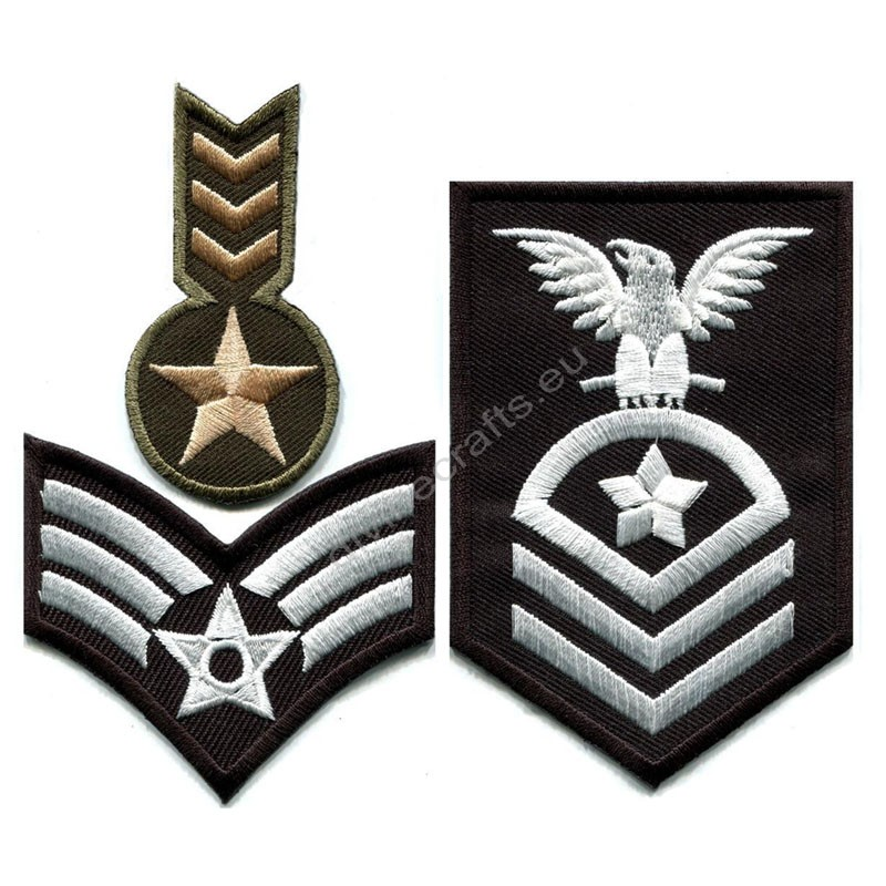 Military Insignia Rank Iron On Patches