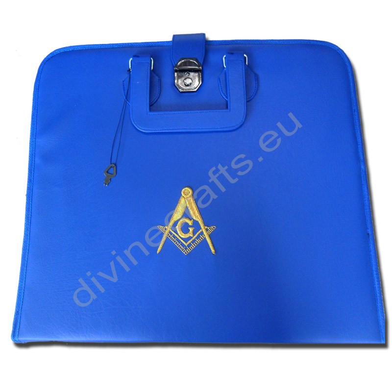 Hand Embroidered Masonic Custom Blue, M.M. Apron Case Gold