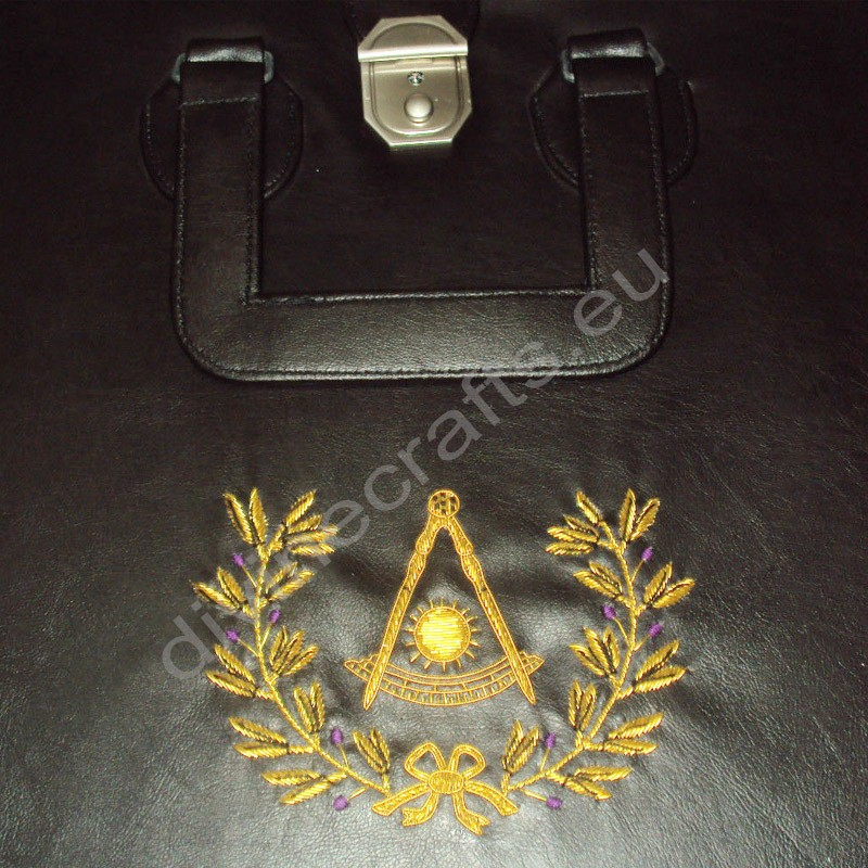 Hand Embroidered Masonic Custom Black, P M  Apron Case Gold
