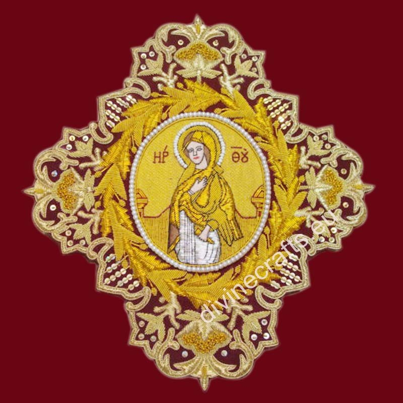 Embroidered Gold Cross With Icon