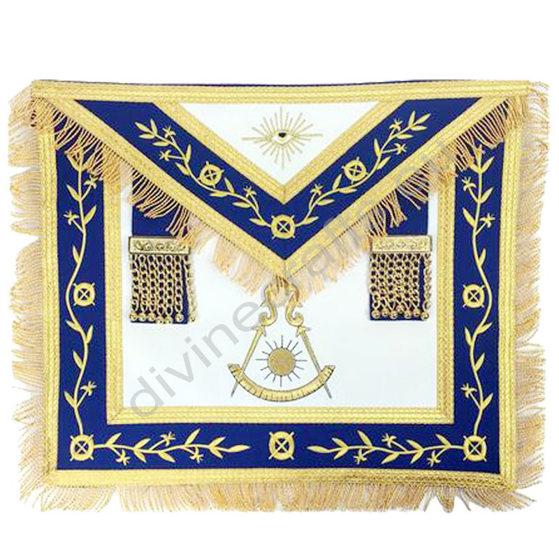 Masonic Blue Lodge Past Master Gold Machine Embroidery Apron