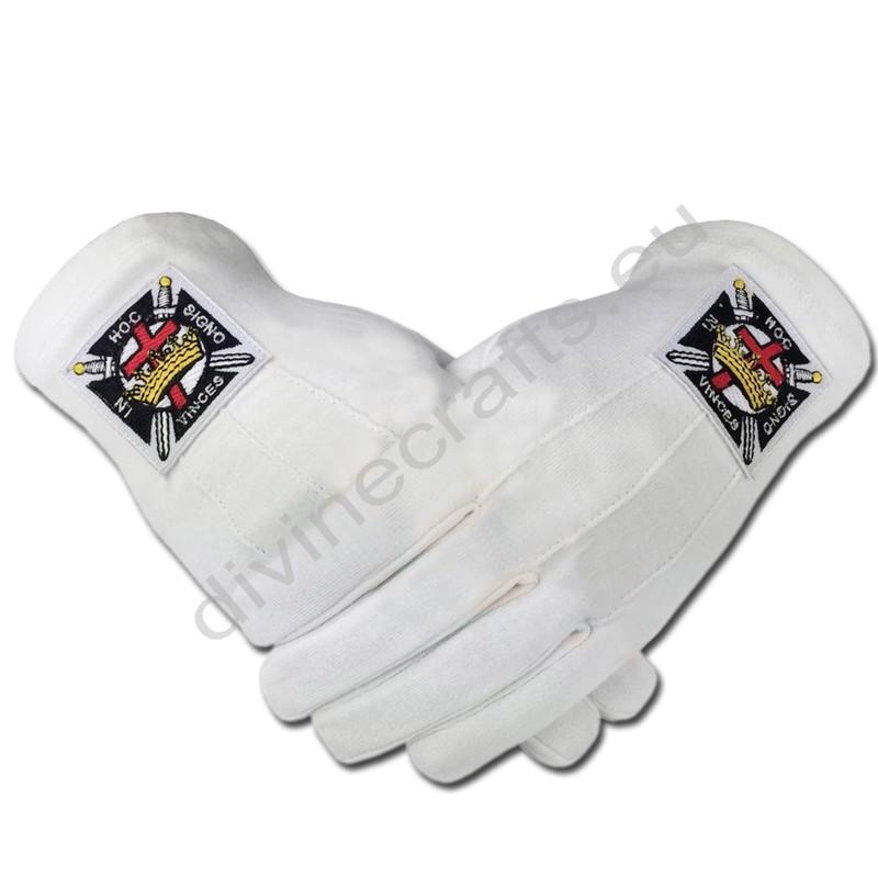 Masonic Knight Templar KT 100% Cotton Machine Embroidery Emblem Glove