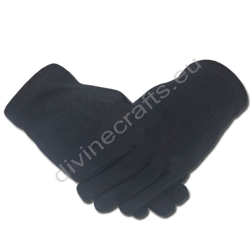 Masonic Knight Templar Plain 100% Cotton Glove Black