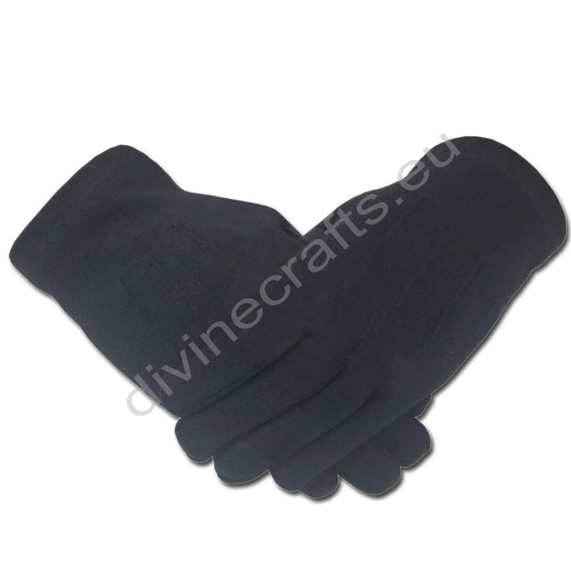 Masonic Knight Templar Plain 100% Cotton Glove Black