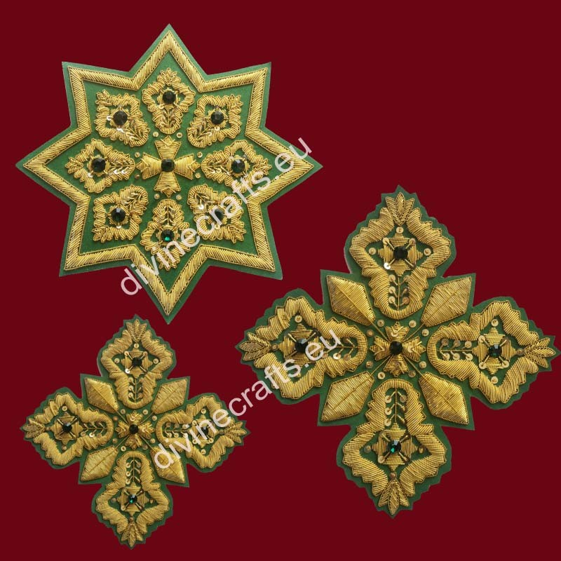 Russian Style Orthodox Embroidered Cross Set