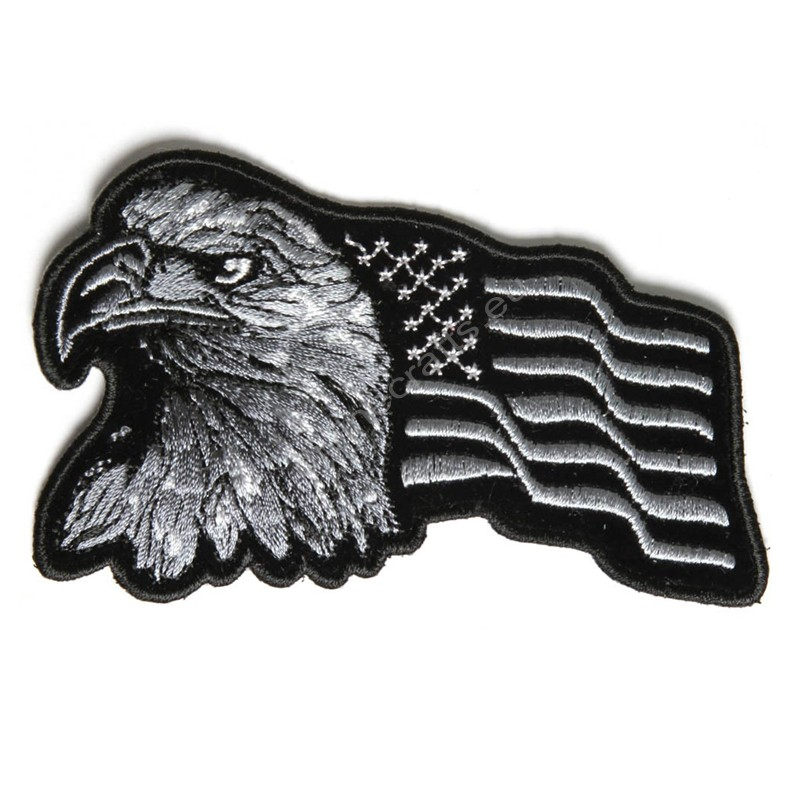 Eagle With Waving Flag Black Silver Patch