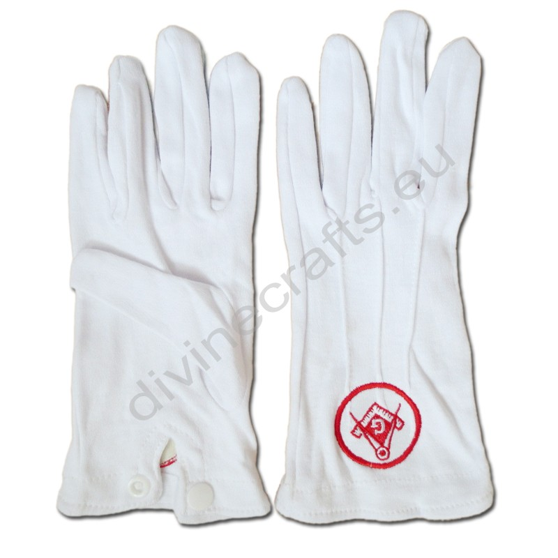 Masonic Gloves Red Embroidery G6