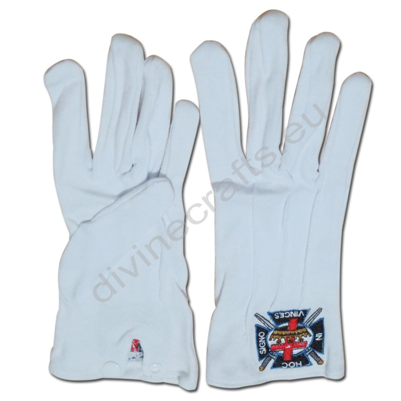 Masonic Gloves White Customized Embroidery G2