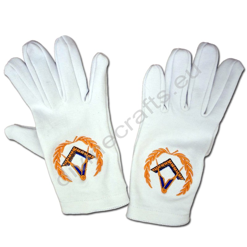 Masonic White Gloves With Square And Compass Sticker