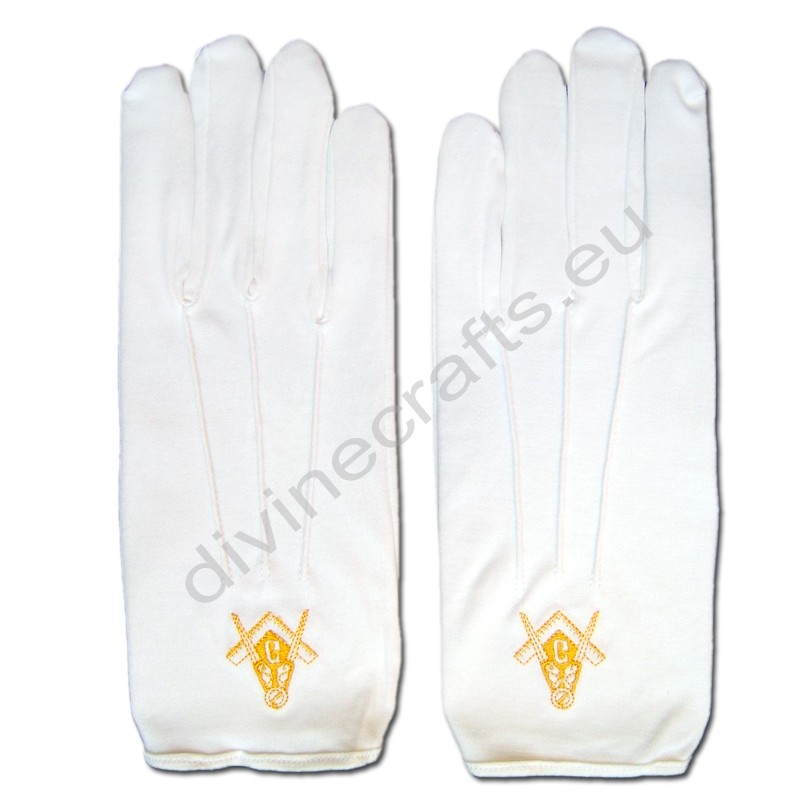 Masonic Cotton Gloves Golden Embroidery
