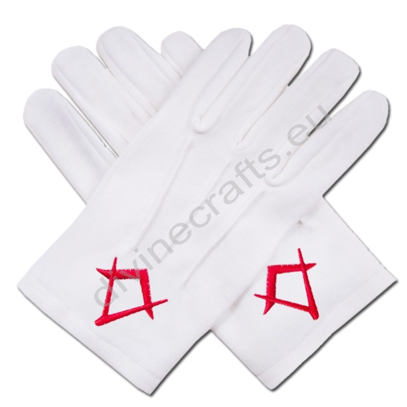 Freemason Masonic Cotton Gloves Red Embroidered