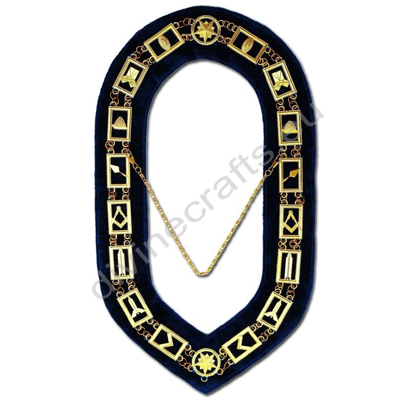 Masonic Regalia Master Velvet Golden Chain Collar