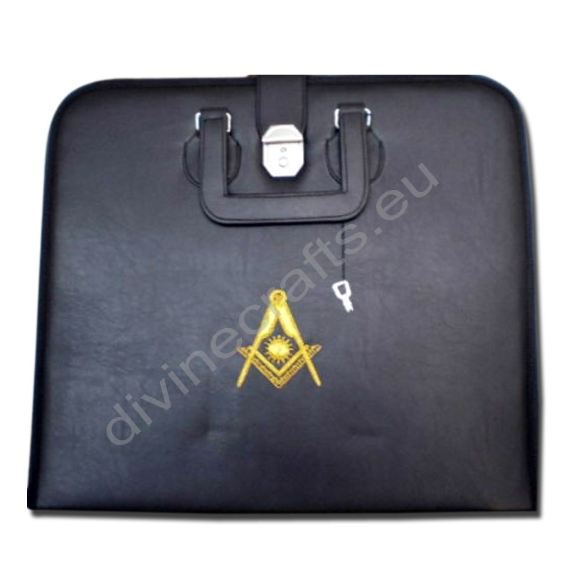Hand Embroidered Masonic Custom Black, P.M. Apron Case Gold