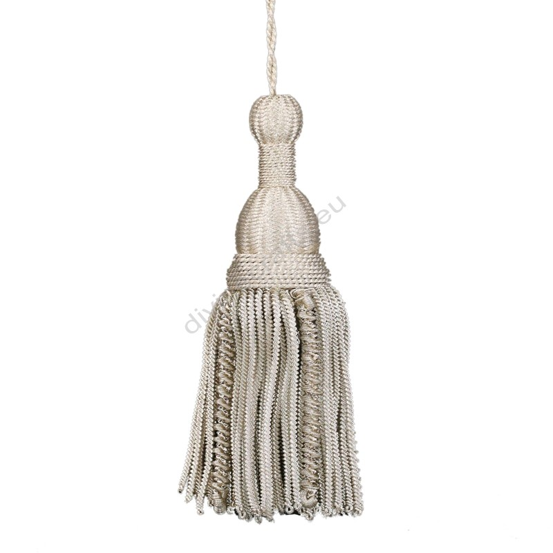French Braided Tassel Metallic Siliver