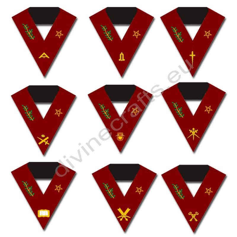 Masonic Blue Lodge 14th Degree Collars- Set of 9 collar