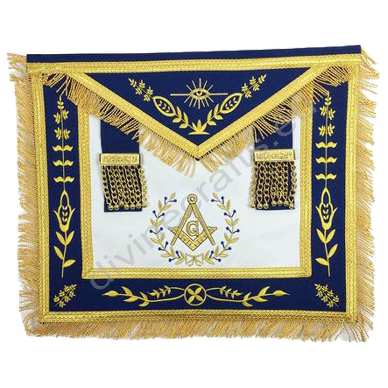 Masonic Blue Lodge Master Mason Gold Machine Embroidery Apron