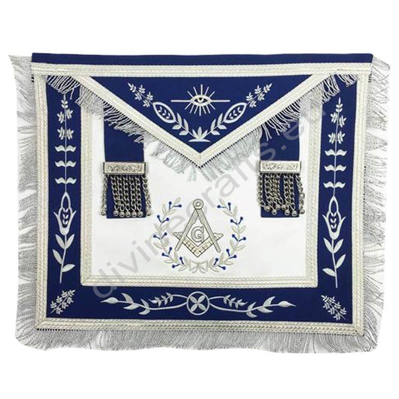Masonic Blue Lodge Master Mason Silver Machine Embroidery Freemasons Apron