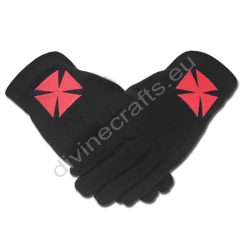 Masonic Knight Templar Black 100% Cotton Machine Embroidery Glove