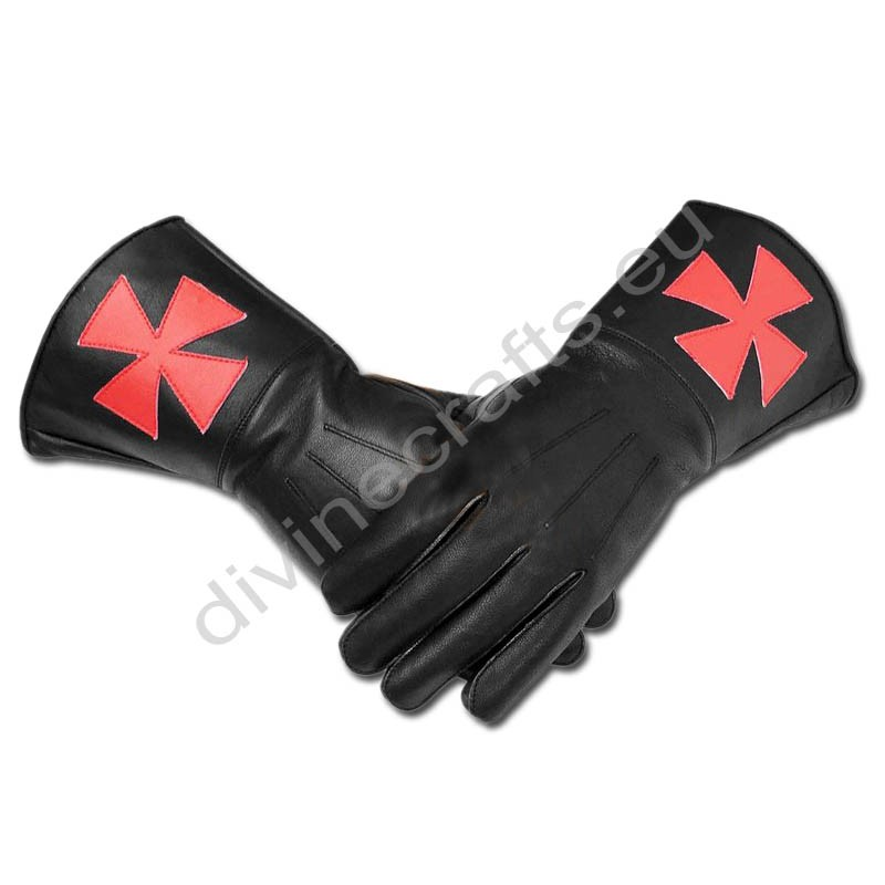 Masonic Knight Templar Black Gauntlets Soft Leather Gloves