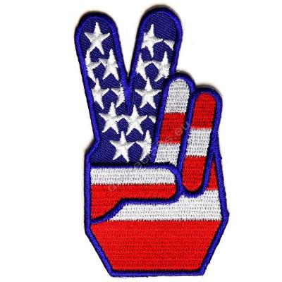 Finger Peace US Flag Patch