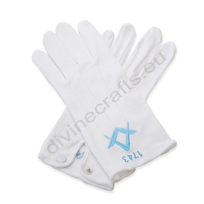 Cotton White Masonic SQ And Compass Gloves