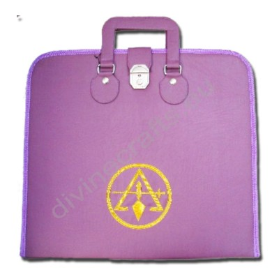 Hand Embroidered Masonic Custom Purple, Past R&S Master Member's Apron Case Gold