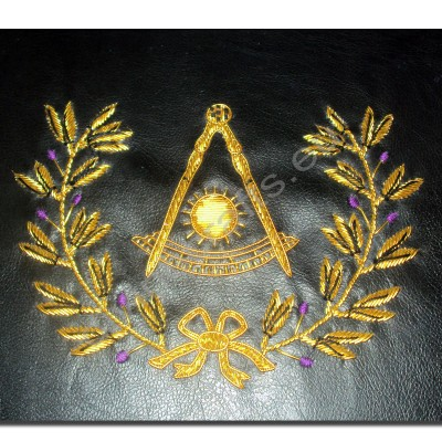 Hand Embroidered Masonic Custom Black, P.M. Apron Case Gold with Wreath