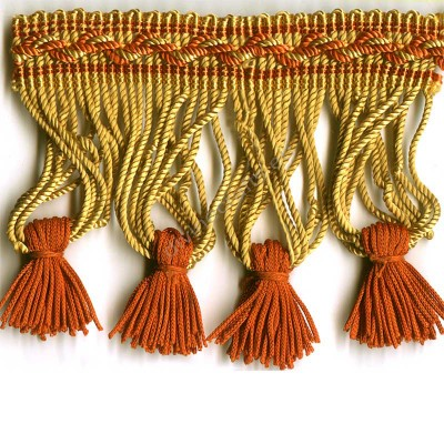 Gold and Red Rayon Bullion Tassel Fringe