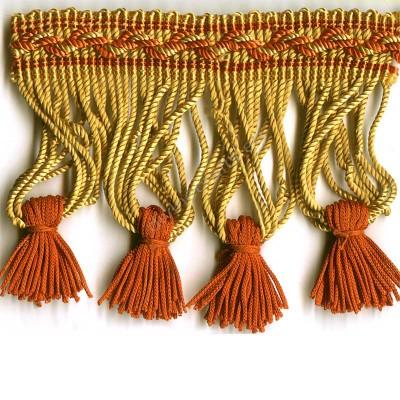 Gold and Red Rayon Bullion Tassel Fringe