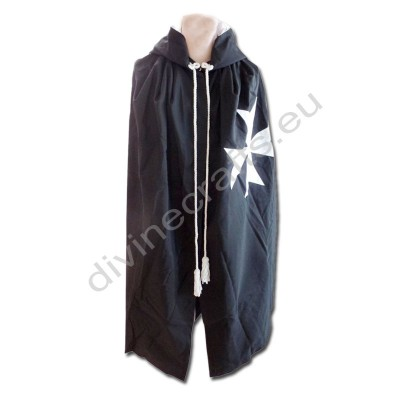 Masonic Knight Malta Mantle Black with (8 pointed) Malta Cross
