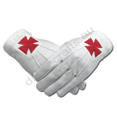Masonic Knight Templar Red Nordic Cross White Cotton Machine Embroidery Glove